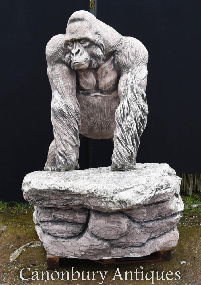 Statue g ante du jardin des gorilles de pierre grandeur for Statue de jardin en pierre