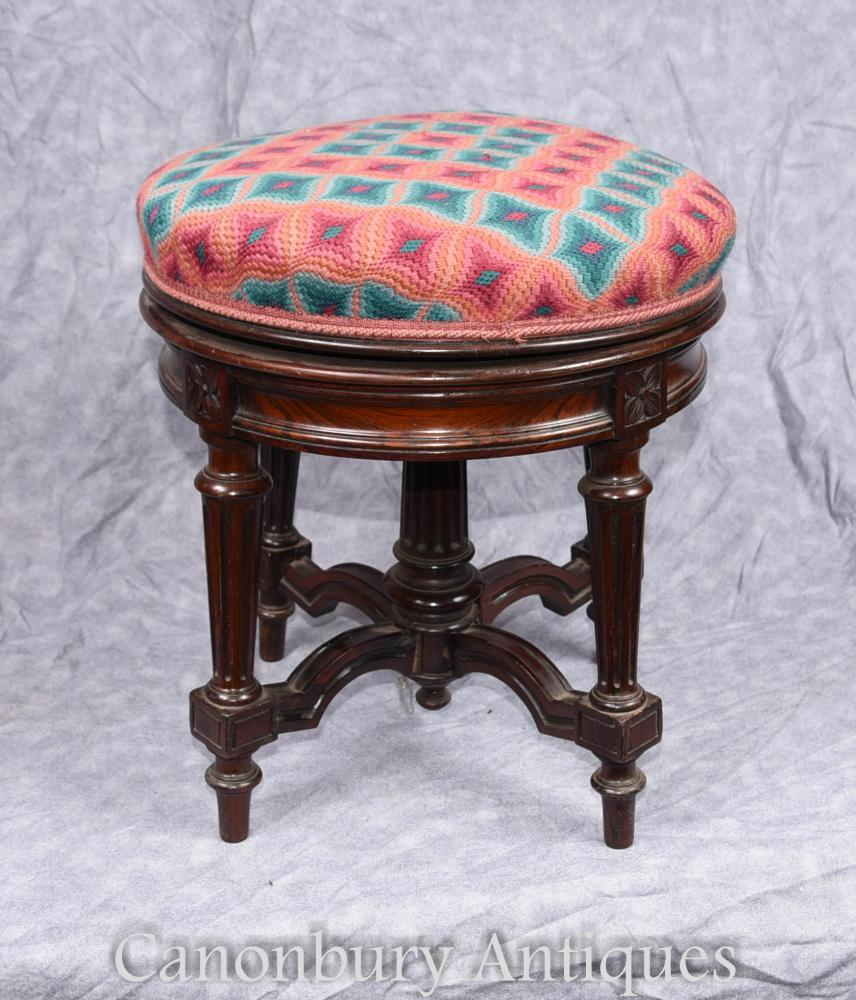 tabouret de piano victorien antique hauteur r glable rosewood. Black Bedroom Furniture Sets. Home Design Ideas