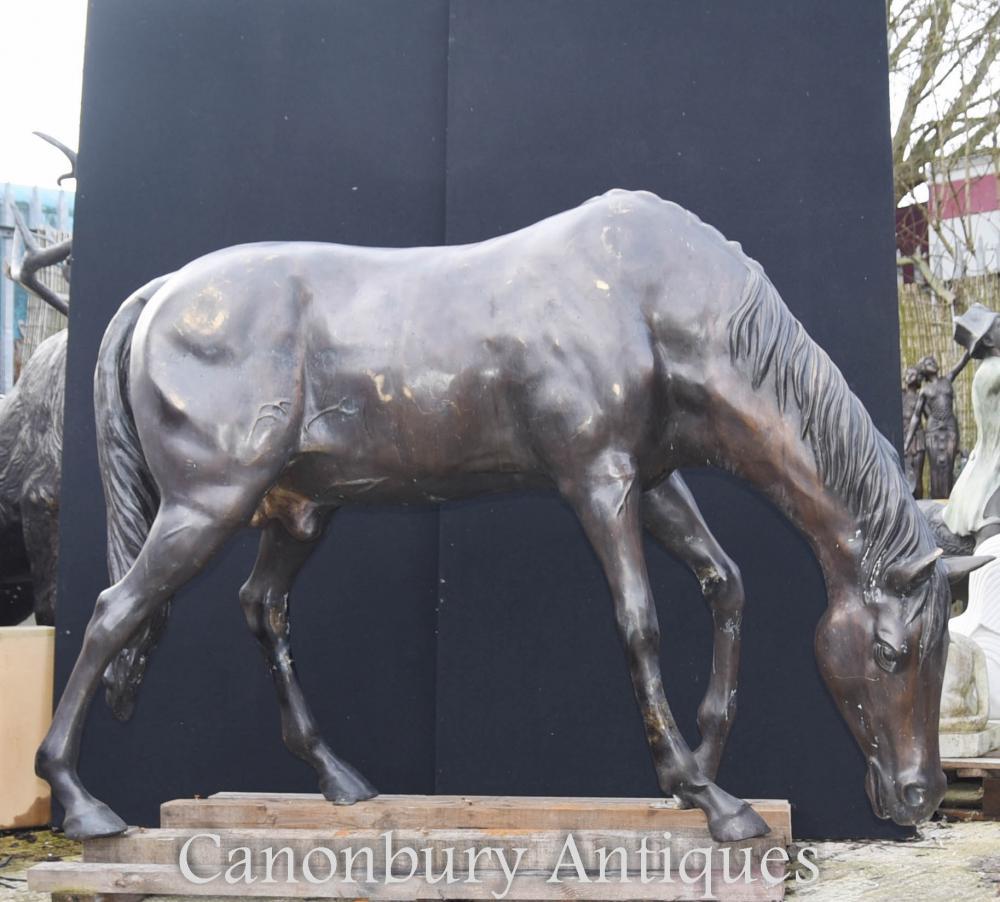 Taille de la vie Bronze Cheval Statue Sculpture Moulage d'animaux architecturaux