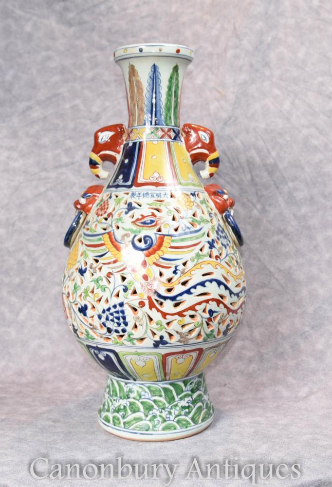 Un seul chinois Qianlong porcelaine Dragon Urn Vase Chine Céramique