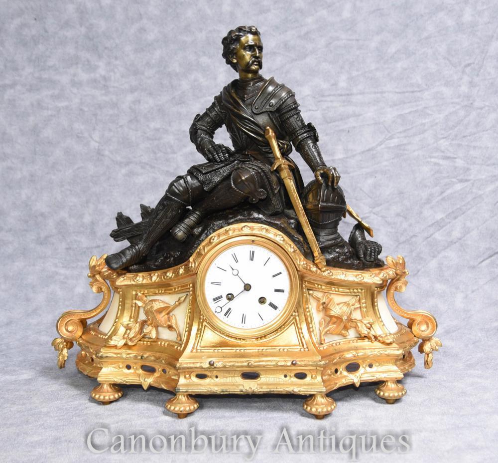 Ancien Empire français Ormolu Manteau Horloge 1880 Statue en bronze