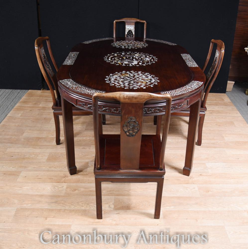 Antique Chinese Dining Set Table et chaises Inlay Mother of Pearl