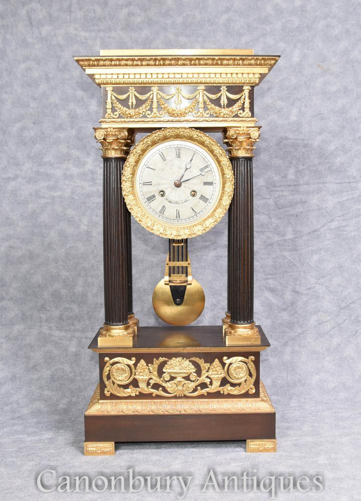 Antique French Empire Mantle Clock Ormolu par Honore Pons 1810