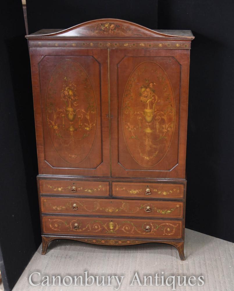 Caboteau de cabinet de presse en lin peint en satin victorien antique 1820