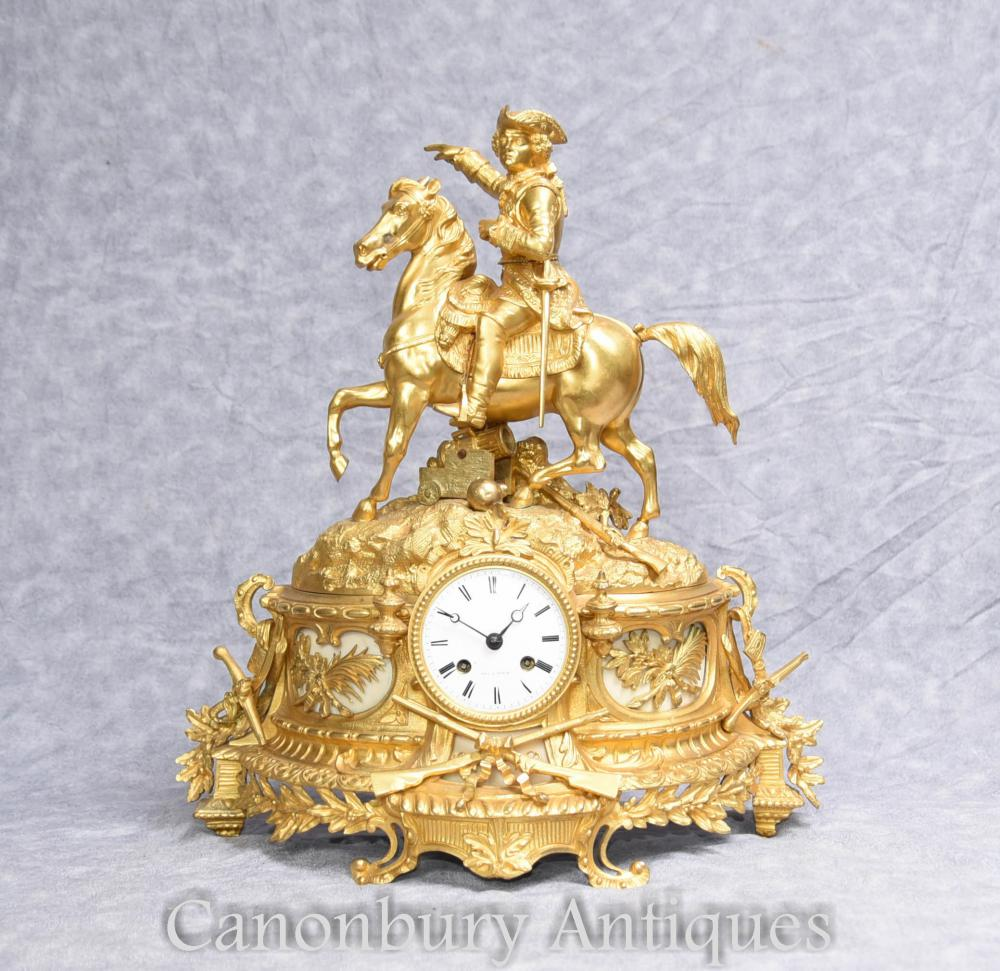 Empire français Ormolu manteau Antique Clock Napoleon on Horse 1890