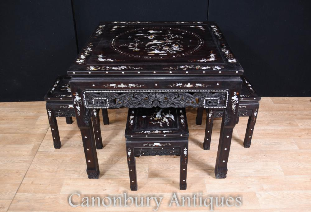 Ensemble de salle à manger antiquité chinoise Table de tabouret Inlay Mother of Pearl
