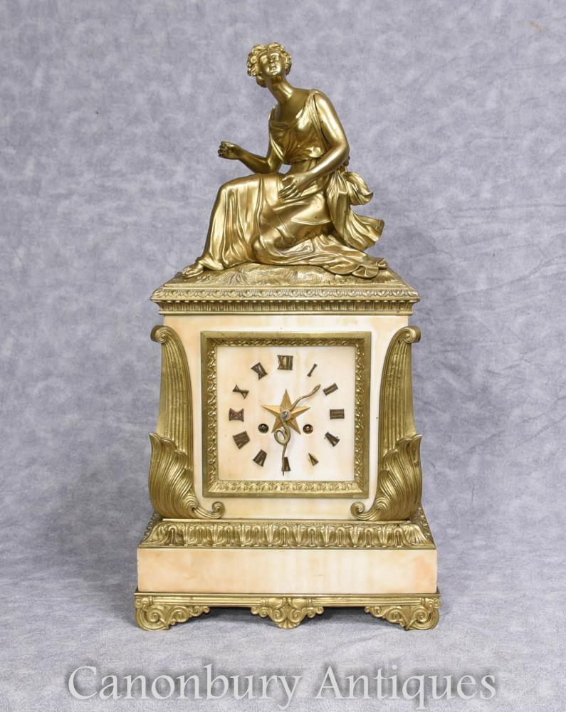 Horloge Antique Art Déco Française Marbre Ormolu Figurine 1930