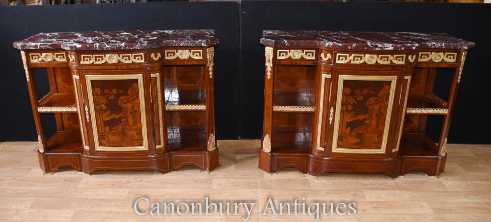 Pair French Empire Armoires Buffets Marquetry Inlay