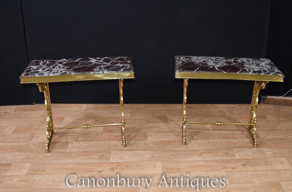 Paire French Empire Gilt Console Tables Ormolu