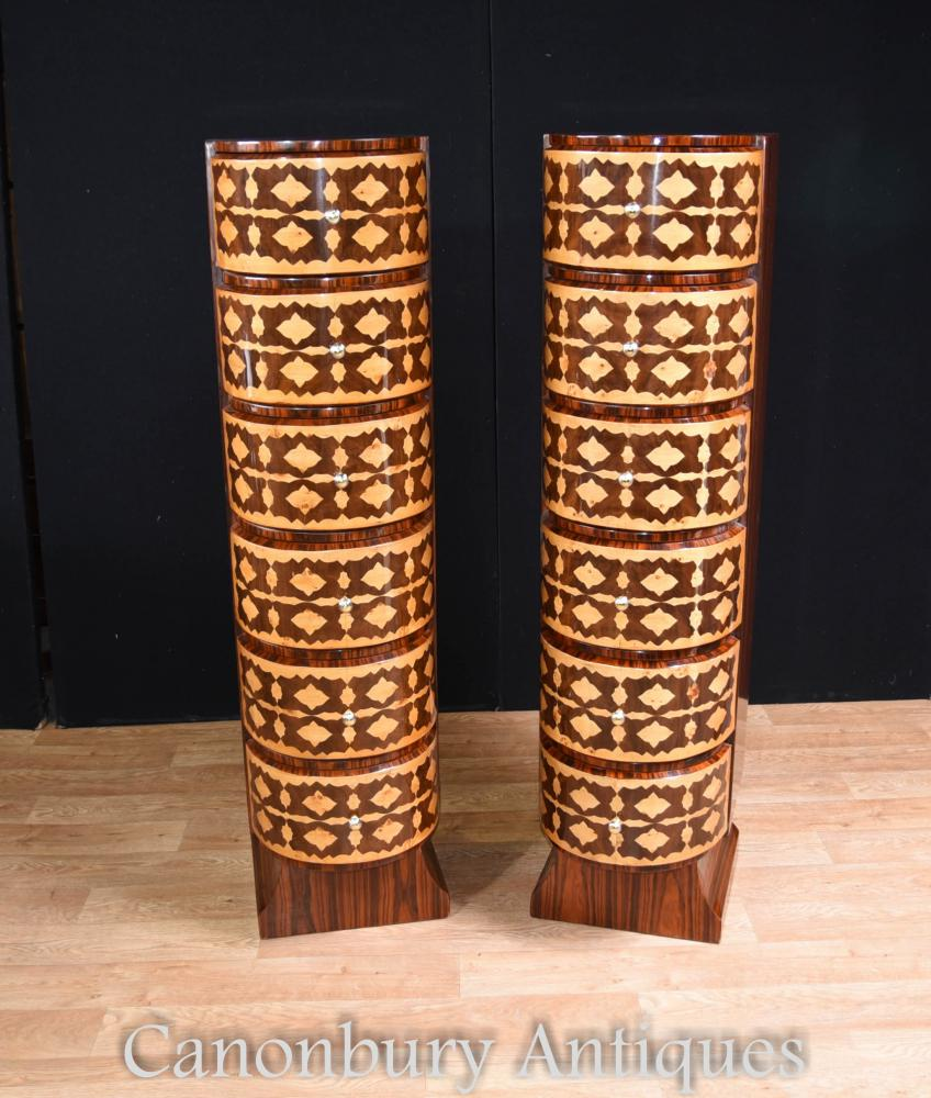 Paire de coffrets Art Deco Tall Boys Marquetry Inlay