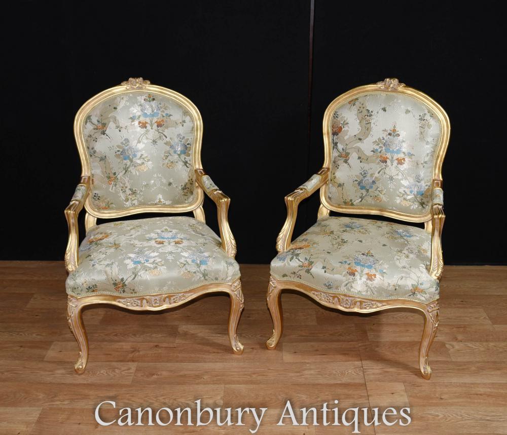 Paire de fauteuils en cuir doré français Louis XVI Fauteuils