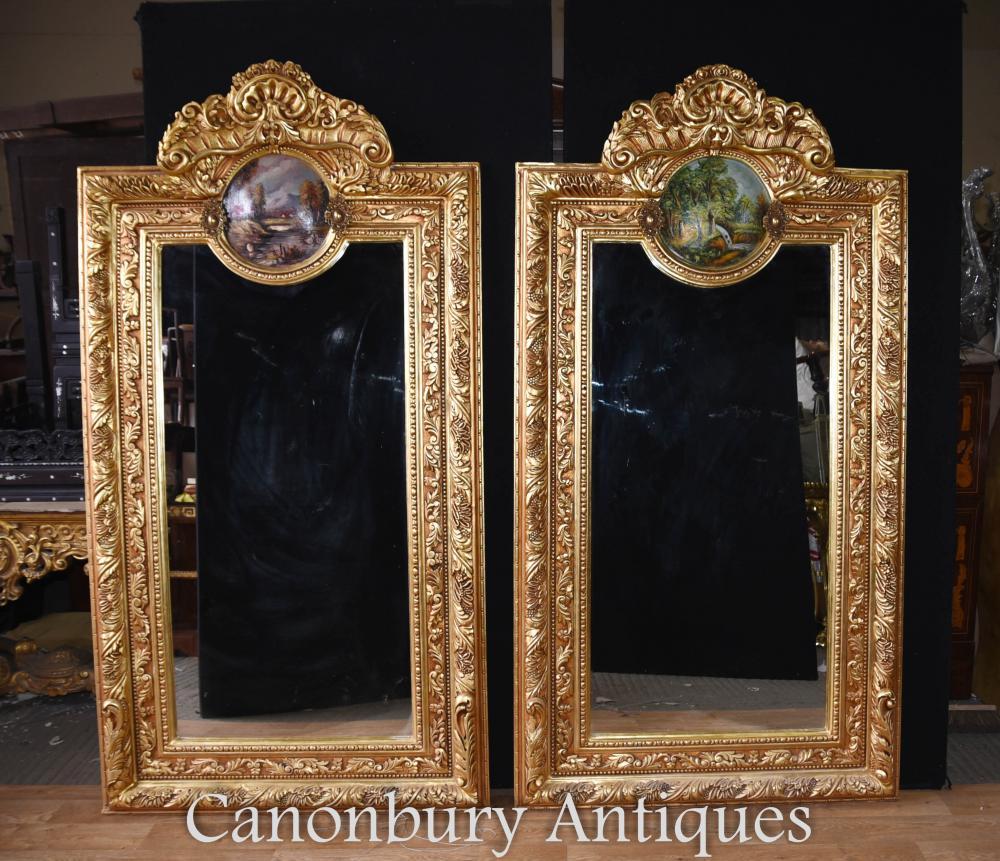 Paire de plaques peintes Louis XV Gilt Pier Mirrors