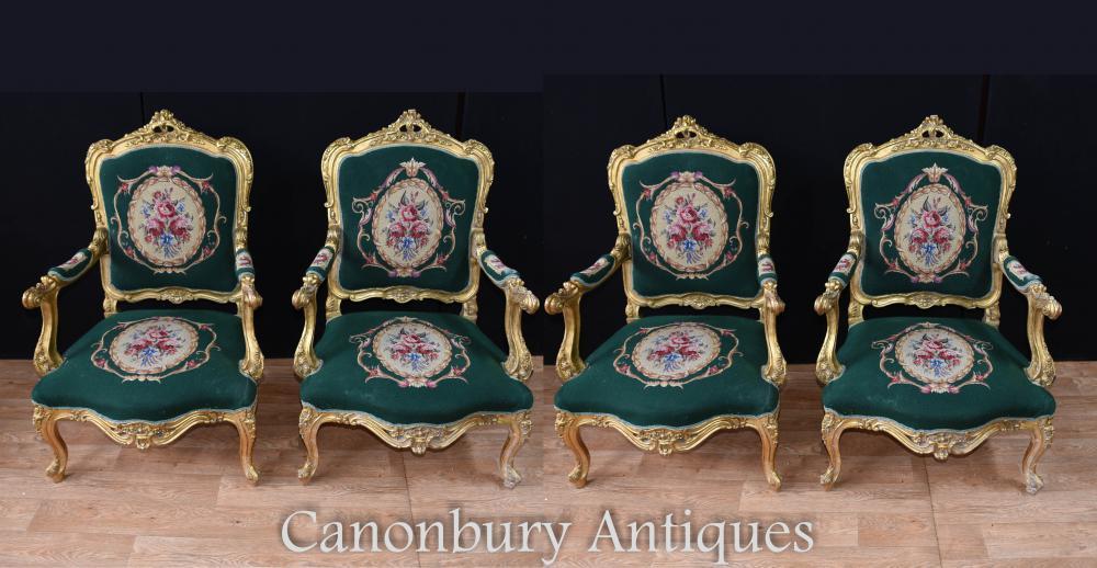 Set de 4 chaises de bras doré Français Louis XVI assise
