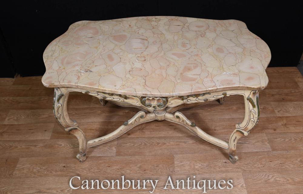 Table à café Louis XV peinte en marbre