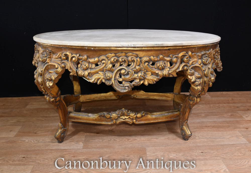 Table basse baroque ovale baroque italienne Marbre recouverte