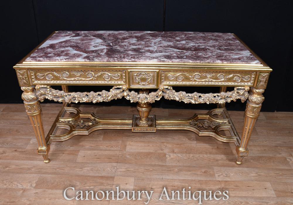 Table de console Louis XVI Gilt Tables de salle à manger en marbre