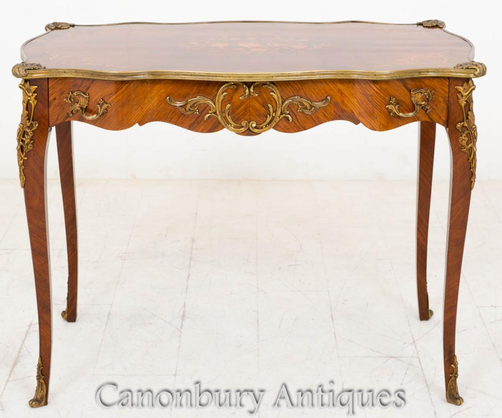 Antiquités French Empire Center Side Table Kingwood Inlay