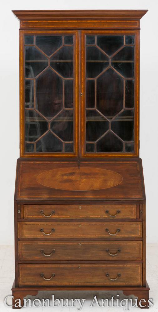 Bibliothèque Sheraton Revival Bureau en caoutchouc en acajou 1890