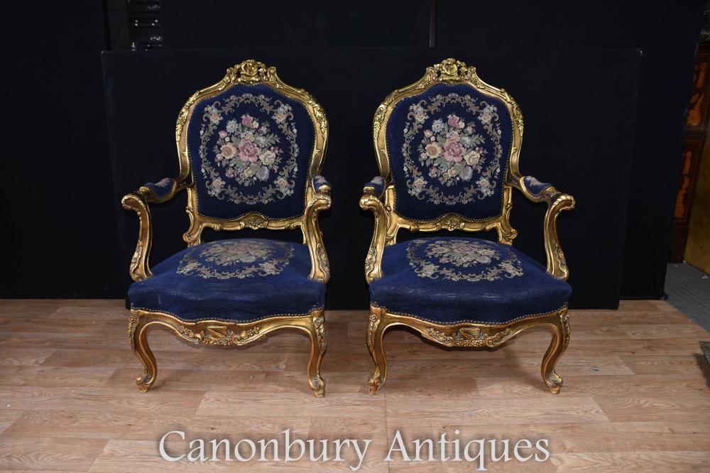 Paire de sièges à bras dorés Tapisserie Louis XVI française