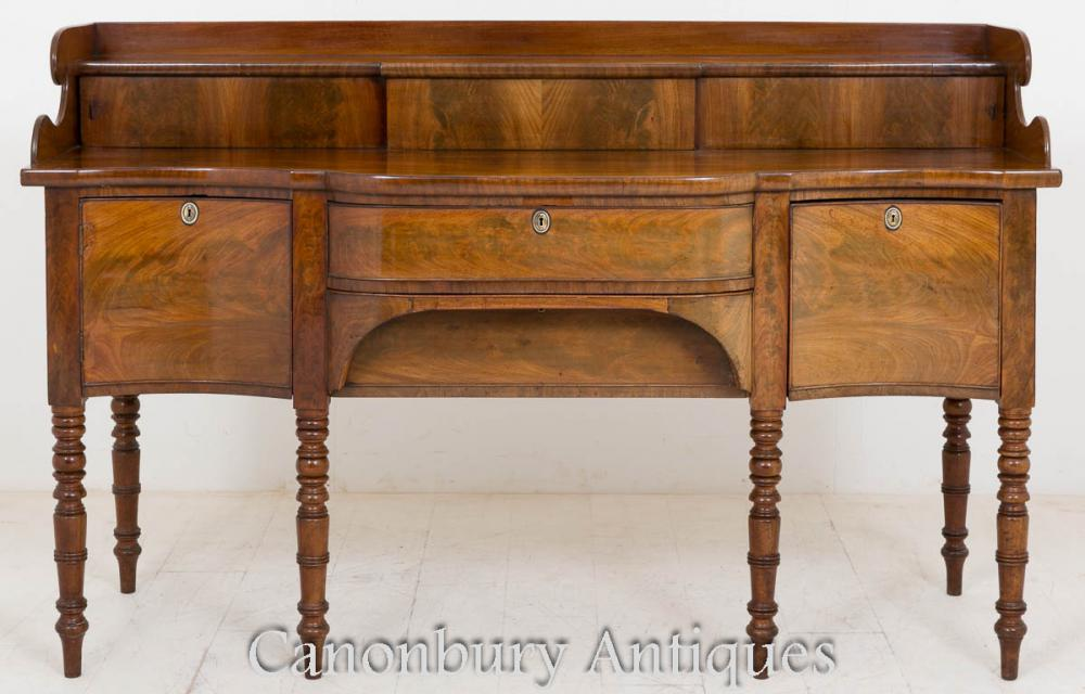 Regency Sideboard Buffet Serpentine Form Mahogany Server