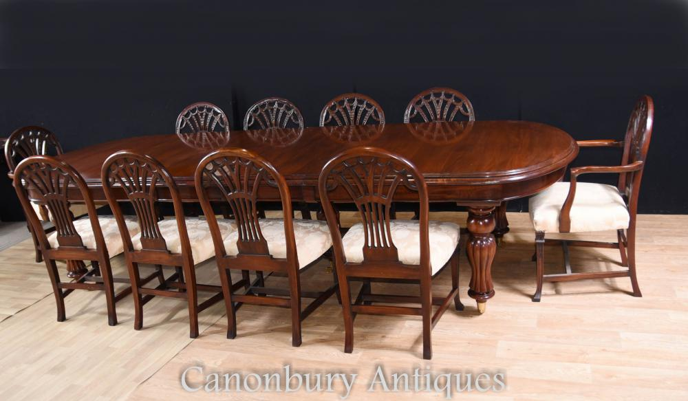 Table à manger victorienne et set Ensembles Mahogany Chairs Chaises Hepplewhite