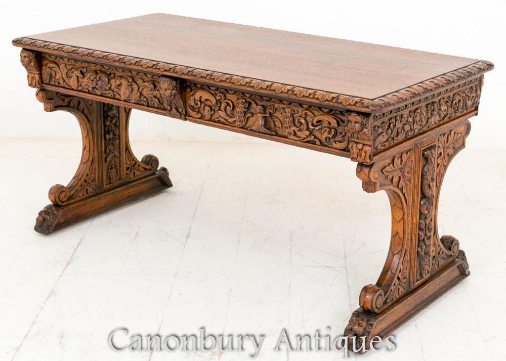 Table antique de bibliothèque de chêne sculpté Bureau baroque de table d'écriture
