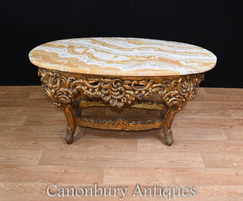 Table basse française dorée ovale Louis XVI