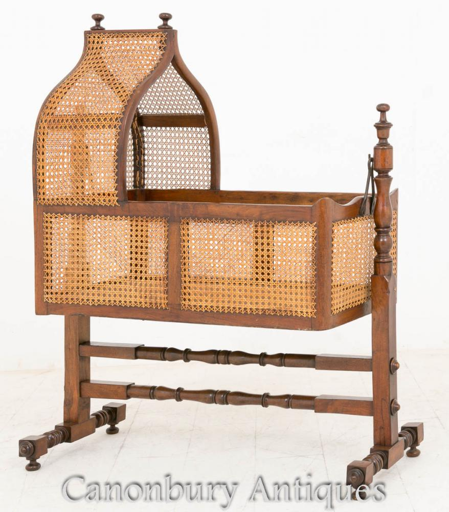 William IV Antique Berceau Cot Acajou et canne 1800