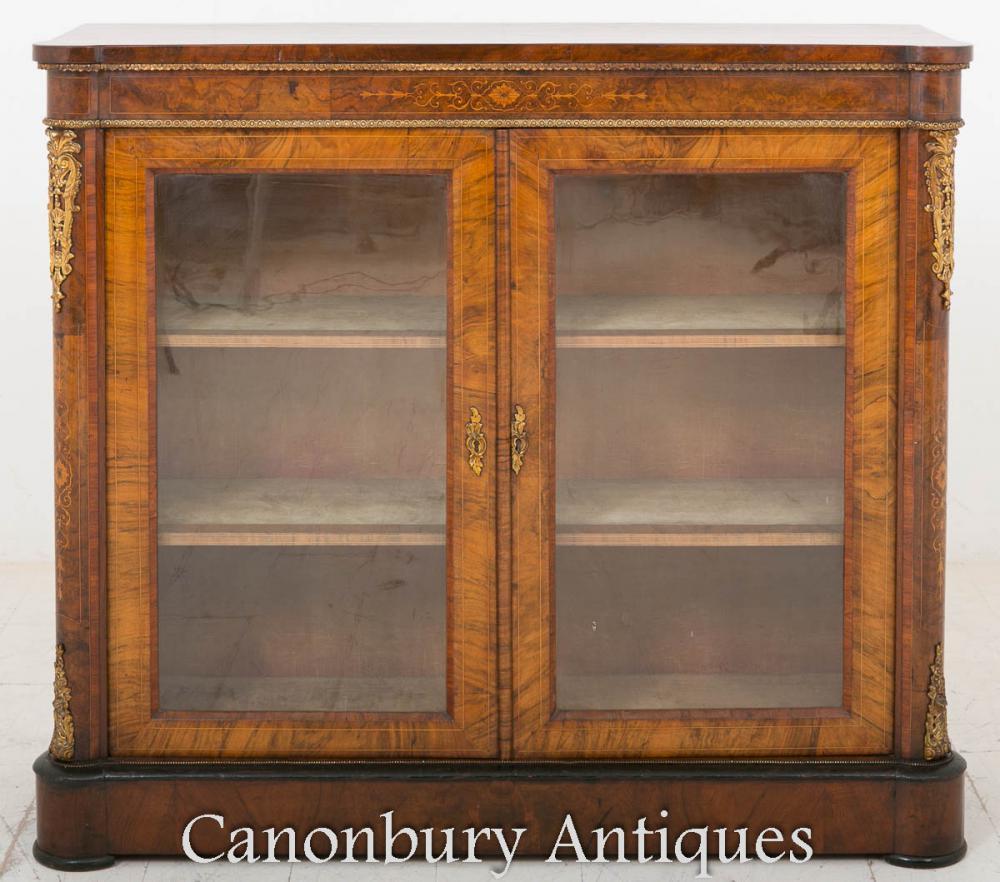 Étui vitré Victorian Burr Walnut Pier Cabinet 1860