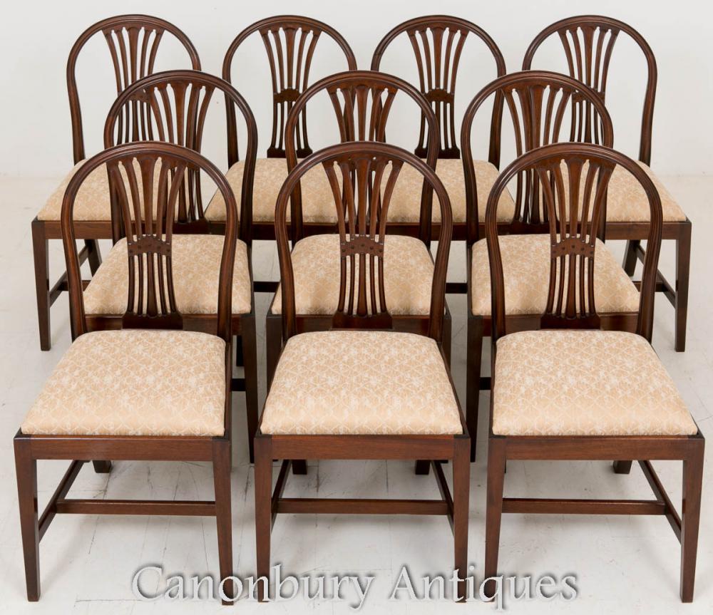 10 Chaises de salle à manger en acajou Hepplewhite