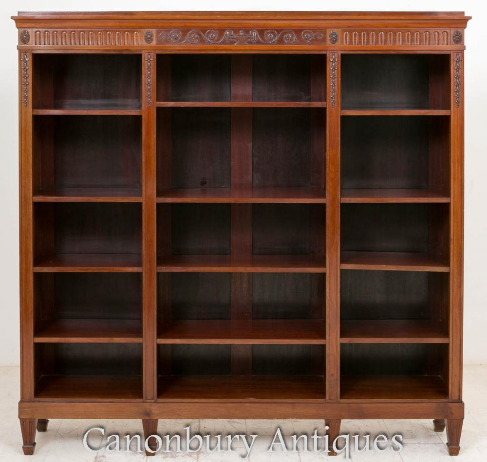 Antique Acajou Adams Open Front Bookcase