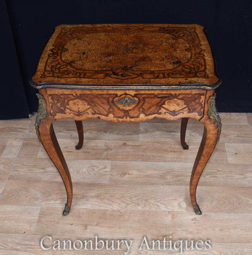 Antique French Side Table Incrustation de bois exotique 1880