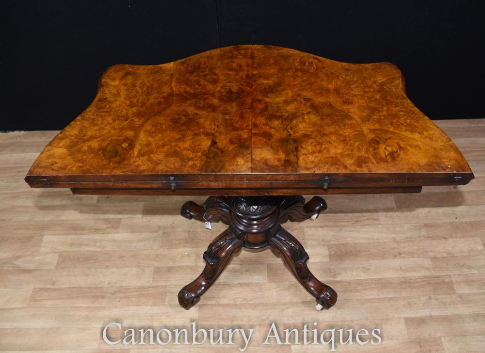 Antique Regency Walnut Card Table d'appoint Tables de jeux