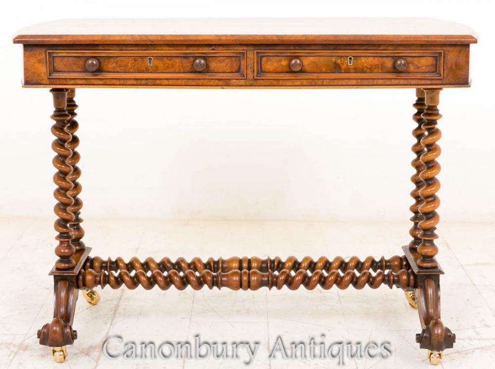 Antique Victorian Burr côté noyer Table Console orge Twist jambes