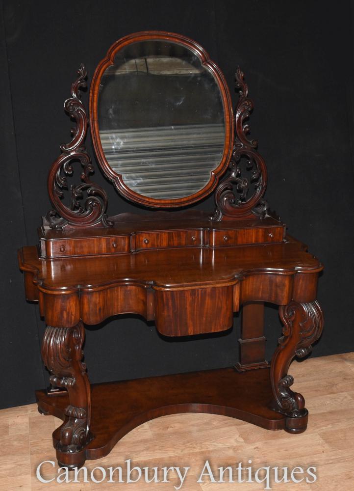 Antique Victorian Duchess Coiffeuse Miroir Bureau Set 1860