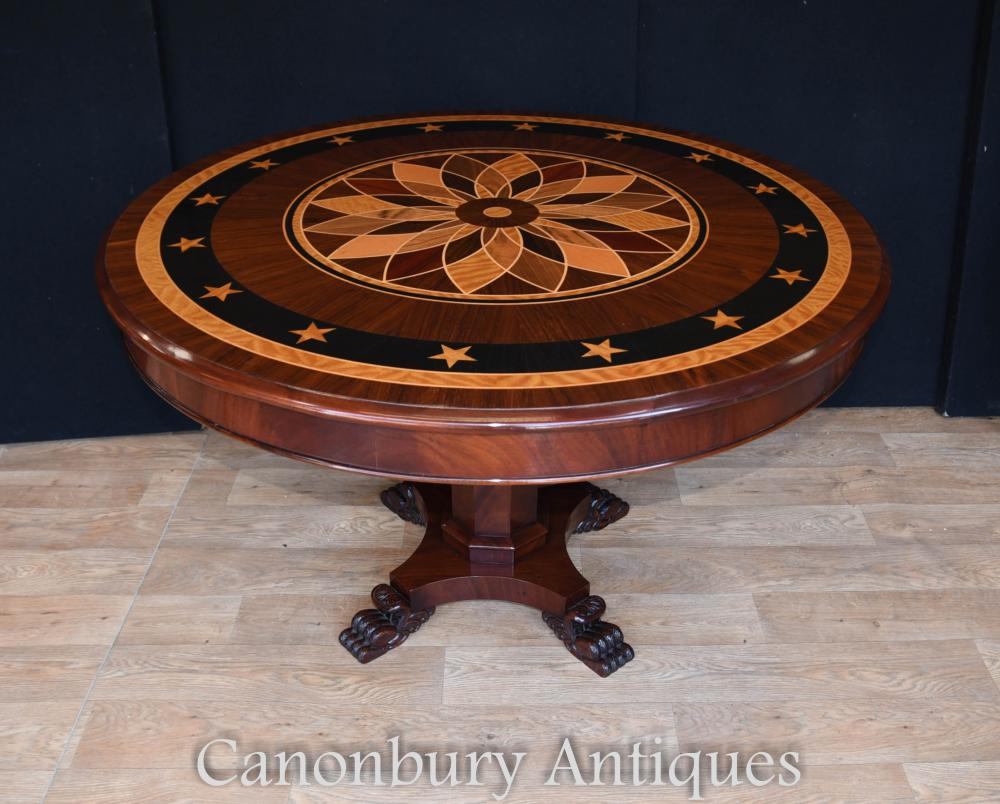 Art Deco Inlay Center Table Tables de Repas Rondes
