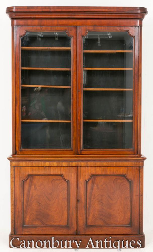 Bibliothèque antique victorienne Cabinet en verre Acajou 1860