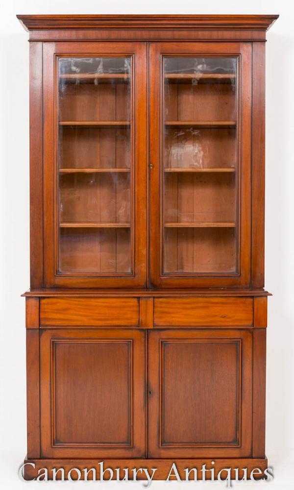 Bibliothèque en acajou victorienne antique verre vitrine