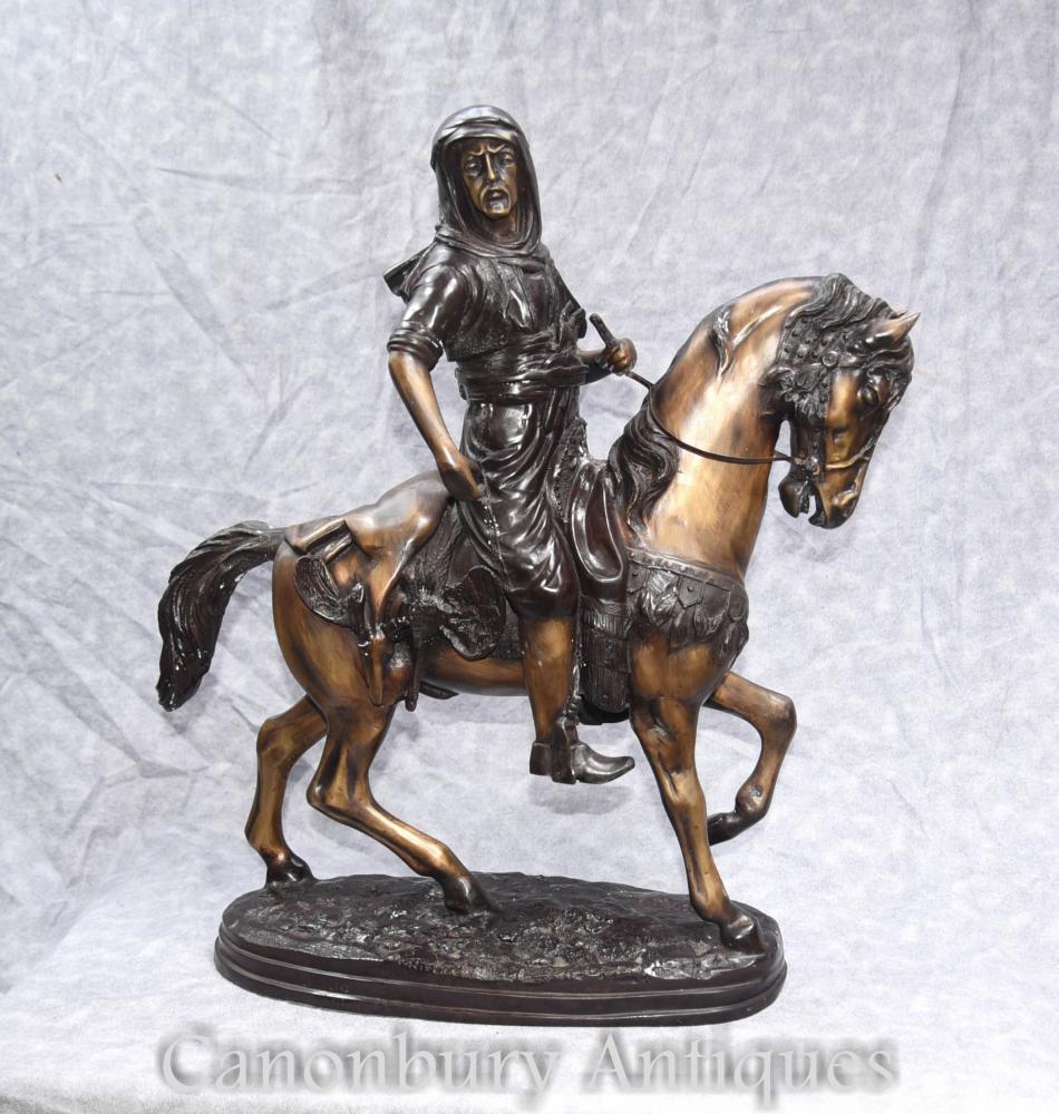 Bronze Français Arabe à Cheval Statue Orientaliste Par Barye