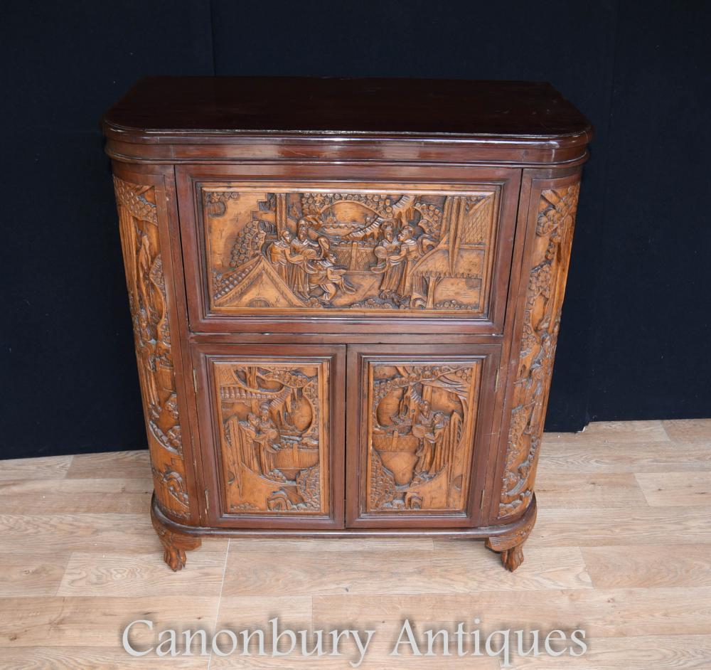 Cabinet chinois antique de boissons de bois de camphre sculpté