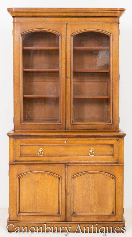 Cabinet d'étagère victorienne victorienne en laine blonde 1860