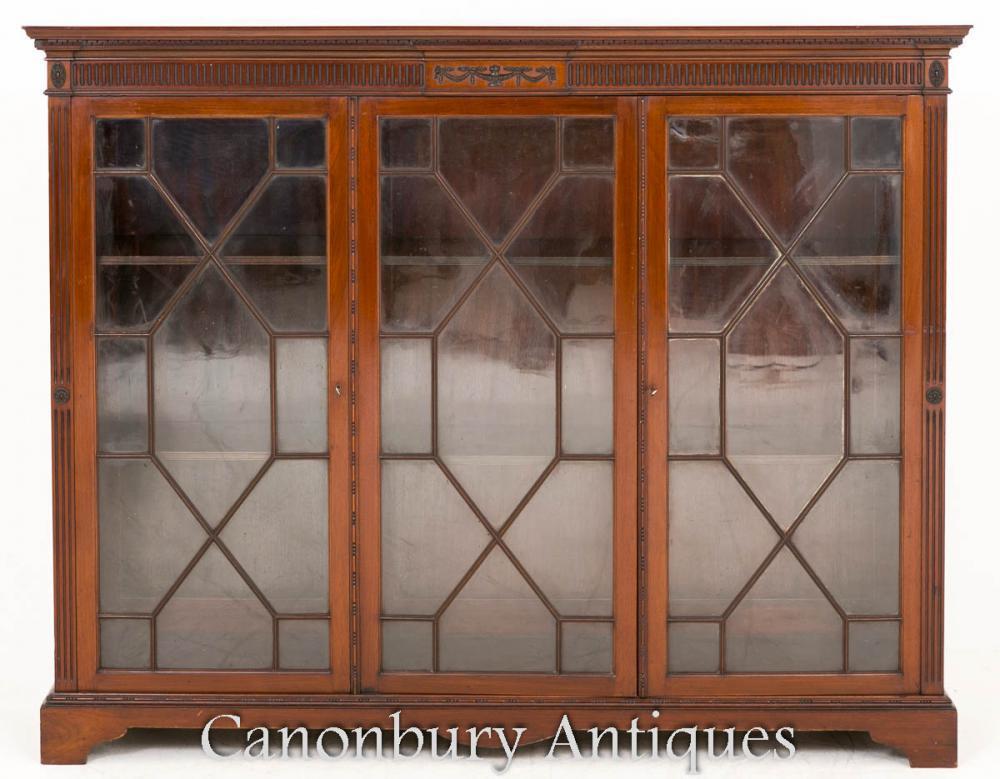 Cabinet d'affichage en verre antiquaire Antique Mahogany 1890