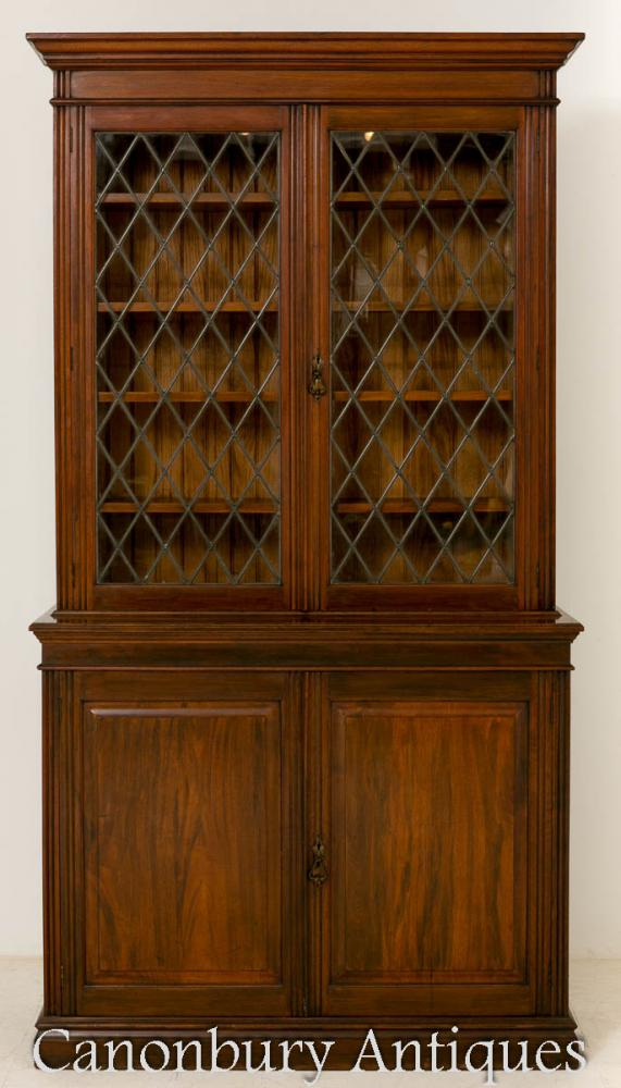 Cabinet de bibliothèque victorienne d'acajou tardif 1890