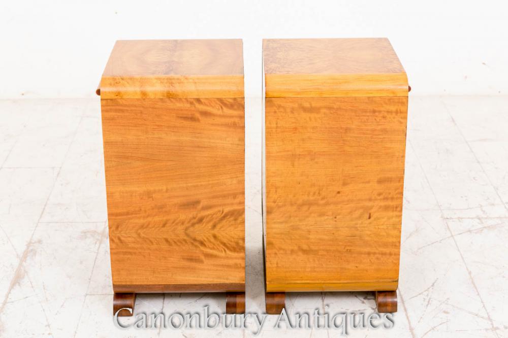 Cabinets de Caisses de Bord du lit d'Art déco de Noix Nightstands