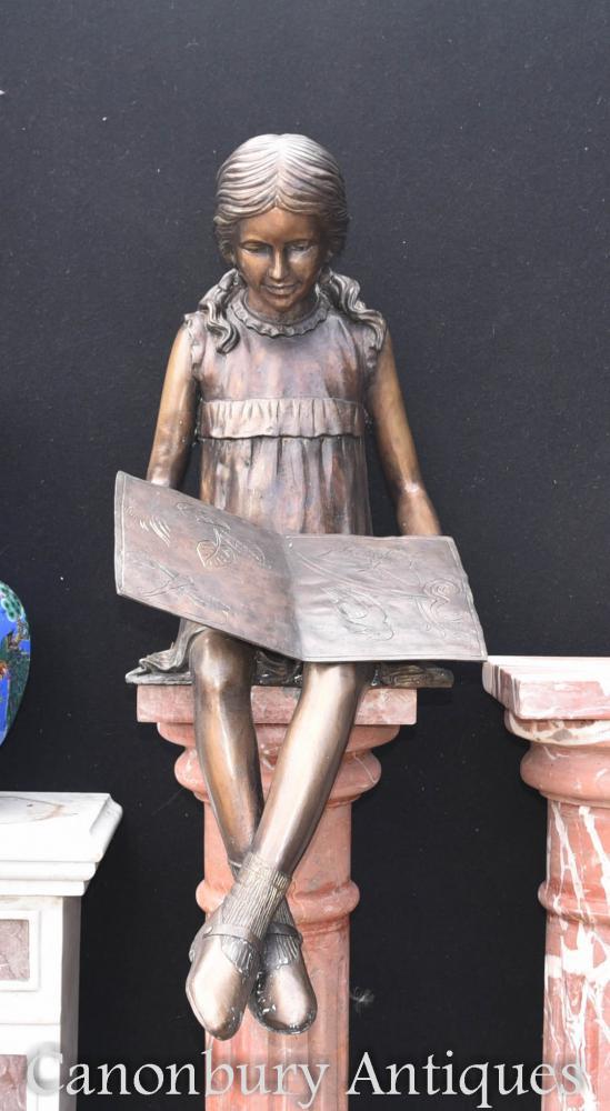 Casting de LifeSize Bronze lecture Girl Statue jardin