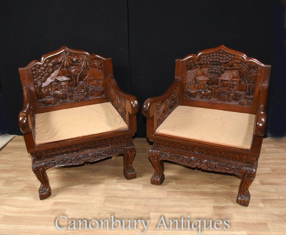 Chaises chinoises en bois massif sculptées à la main et table basse