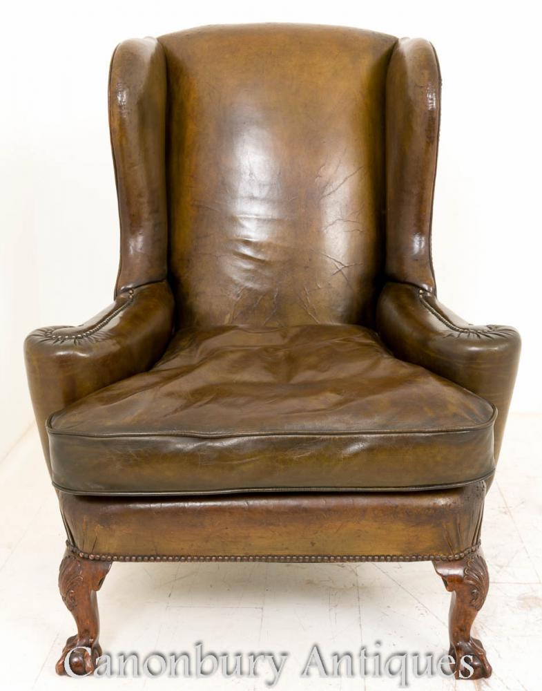 Chaises d'aile de fauteuil en cuir de Wingback géorgien