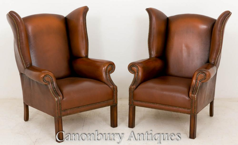 Chaises de bras en airage en cuir Georgian