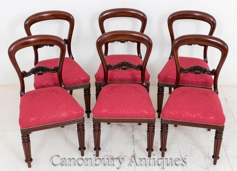 Chaises de salle à manger en moko victorienne