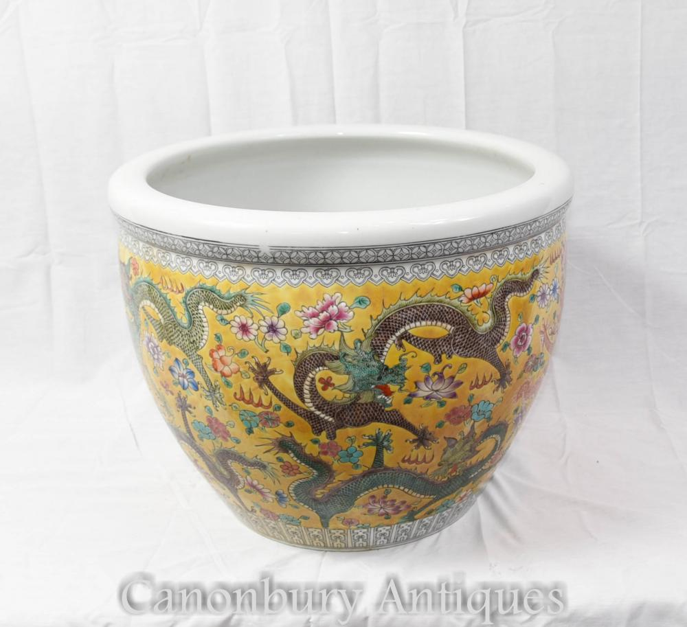 Chinois Ming Porcelaine Dragon Planter Bol Urne Chine